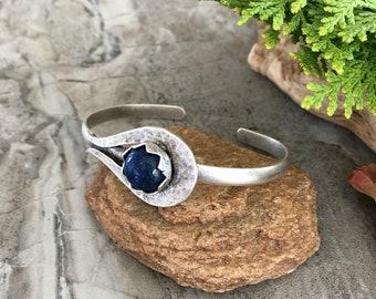 Lapis Lazuli Cuff Bracelet in silver plated brass   cobalt blue
