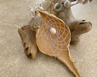 Purple Dusk Dream catcher milkweed seed pod talisman