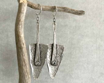 Ancient Tribal Brushed silver metalwork earrings