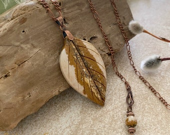 Scenic Leaf Picture jasper necklace | natural earth stone jewelry