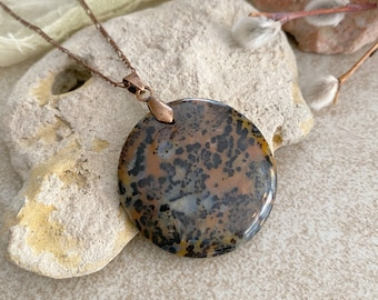 Petrified Wood Necklace | natural leopard spot stone jewelry