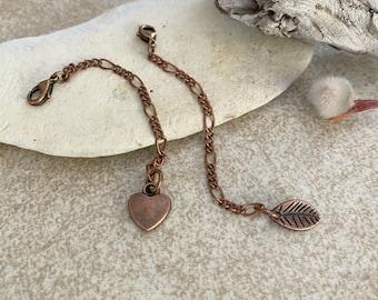 "Antique Copper 3"" Extender for necklaces | leaf or heart"
