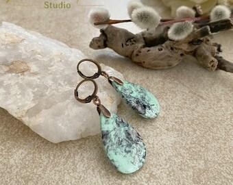 Utah Variscite Earrings | natural earth stone jewelry