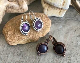 Amethyst Earrings | purple stone jewelry in copper or silver
