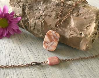 Red Vein Jasper necklace talisman | lemonade jasper bead