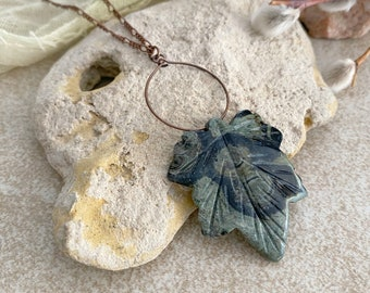 Kambaba Jasper Leaf necklace | natural green talisman stone jewelry