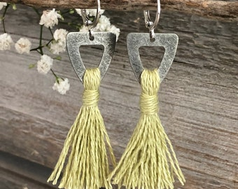 Pale Green Tassel earrings | organic linen | color therapy