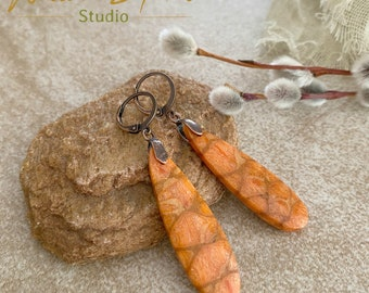 Coral Earrings | natural orange fossil shell stone jewelry
