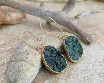 Orbicular Kambaba Jasper earrings | natural stone jewelry