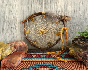 Amber Glow dream catcher | Baltic amber | natural willow