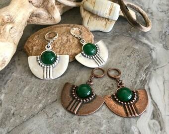 Tribal Fan Earrings | green jade stones in copper or silver