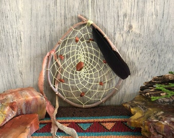 Pale green Dream Catcher  | natural willow  | goldstones