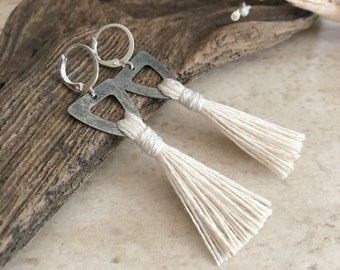 White Sands Tassel earrings in pewter | organic linen | color therapy