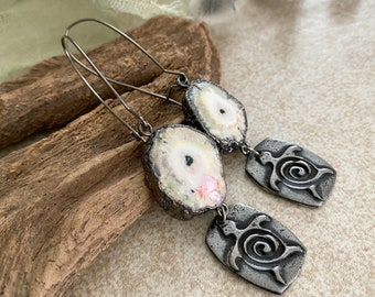 Geode Agate Earrings with turtle totem | natural raw druzy jewelry