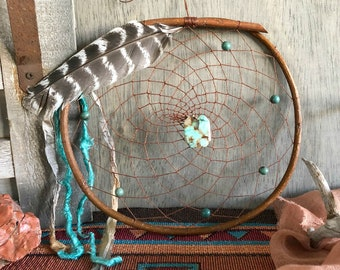 Chrysoprase Dream Catcher in woven in a natural willow branch