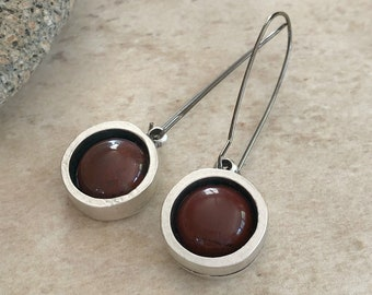 River Jasper Earrings | natural silver red stone jewelry