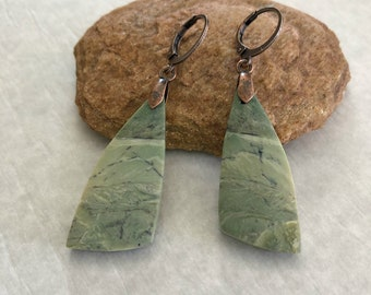 Green Opal Earrings | natural earth stone jewelry
