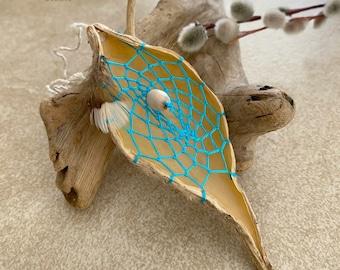 Turquoise Dream Catcher milkweed seed pod talisman