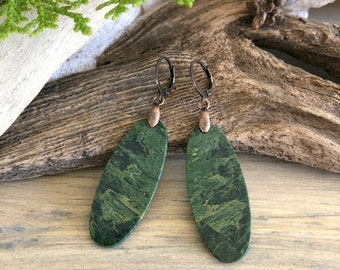 African Jade Earrings | forest green natural jewelry