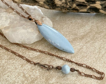 Larimar Necklace | natural blue earth stone jewelry