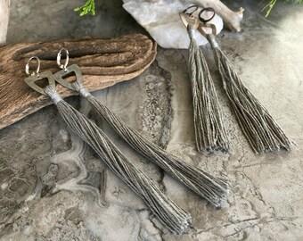Gray Tassel Earrings   hand spun linen fiber   color therapy