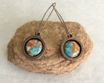 Spiny Oyster / Arizona turquoise earrings   copper stone jewelry