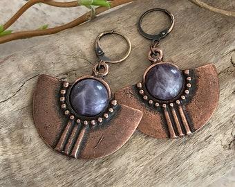Copper Tribal Fan earrings | amethyst stones