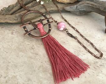 Desert Rose Tassel necklace | long pink copper boho jewelry | rhodochrosite stone bead