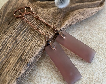 Chocolate Dangle Sea glass earrings | long simple jewelry