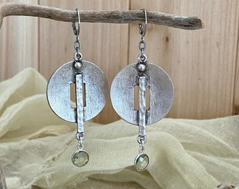 Circular Industrial Earrings | green amethyst drops | ancient jewelry