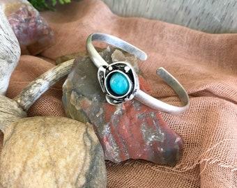 Apatite Cuff Bracelet in silver plated brass | aqua blue
