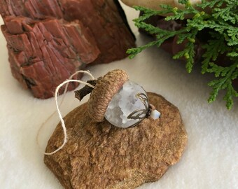 White Glass Acorn ornament | recycled glass bead and real acorn cap