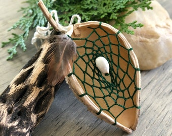 Forest Green Milkweed seed pod dream catcher ornament