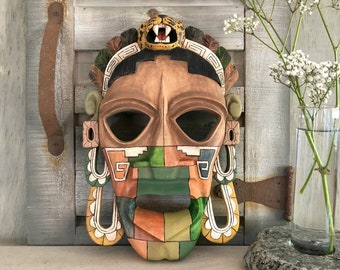 Carved Mayan Jaguar mask | ancient culture wood decor