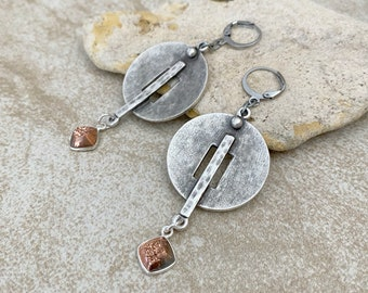 Circular plate earrings | Moon Spirit ancient industrial jewelry