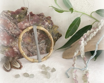 DIY gray dream catcher kit with natural moonstones