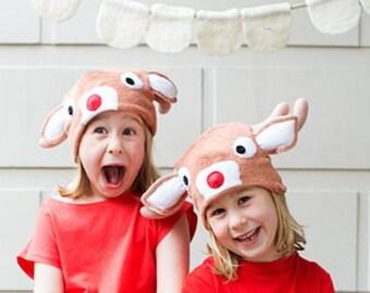 Reindeer Family Halloween Costume, Reindeer Hat Gifts from Santa, Christmas Santa Photo Prop, Rudolf Hat, Xmas Hat, Holidays Costume