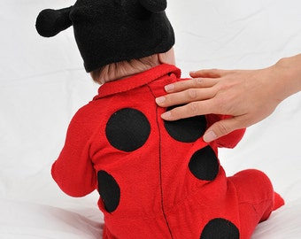 ON SALE: Size 12-18m Ladybird / Ladybug / Lady Beetle Baby Onesie Costume with Hat - Lil' Creatures