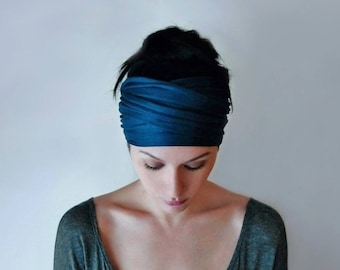 PEACOCK BLUE Head Scarf, Boho Headband, Dark Teal Blue Head Wrap, Headband for Women, Boho Head Wrap, Jersey Headband, Yoga Headband