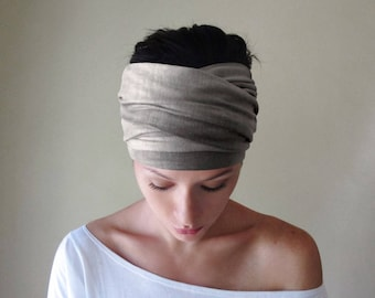 WEATHERED GRAY Headband, Hand Dyed Gray Head Scarf, Tie Dye Headband, Boho Headband, Extra Wide Head Scarf, Boho Head Scarf, Yoga Headband