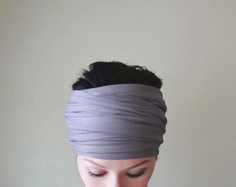 LILAC Headband, Extra Wide Lilac Headband, Light Purple Jersey Head Scarf, Headbands for Women, Boho Hair Accessories, Boho Headband