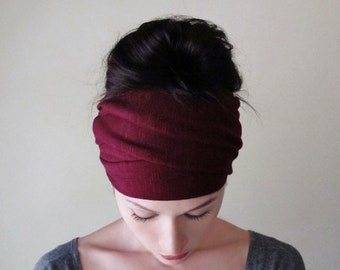 MAROON Head Scarf, Extra Wide Head Wrap for Women, Boho Head Wrap , Adjustable Headband, Merlot Turban Headbands for Women, Boho Head Scarf