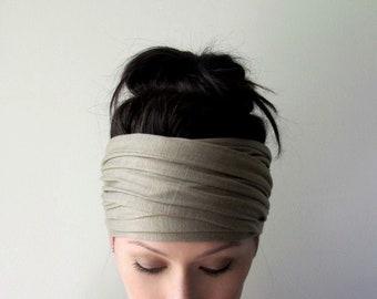 Messy Head Wrap Girl Green Waffle Knit