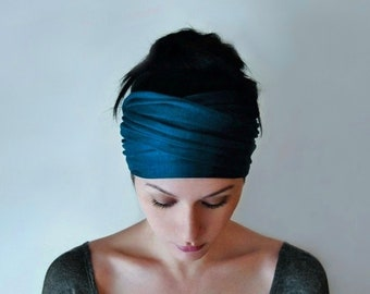 PEACOCK BLUE Head Scarf, Extra Wide Headbands for Women and Teens, Teal Blue Head Wrap, Fashion Turban, Boho Head Wrap, Boho Turban Headband