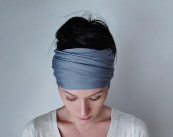 SLATE BLUE Head Scarf, Extra Wide Head Scarf, Steel Blue Headband, Yoga Headbands for Women, Boho Turban Headband, Boho Head Scarf