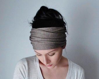 YOGA Head Scarf, LIGHT BROWN Hair Wrap, Gifts for Her, Extra Wide Head Scarf, Yoga Headband, Boho Hair Accessories, Turban Headband