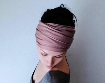 DUSTY ROSE Head Scarf, Yoga Headband,  Mauve Head Wrap, Boho Hair Accessory, Womens Boho Headband, Boho Head Wrap, Jersey Head Scarf