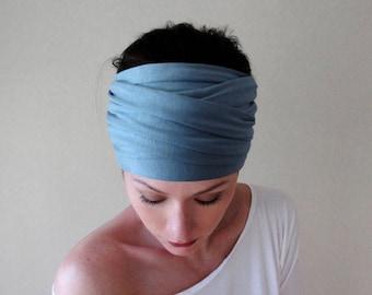 DUSTY BLUE Headband - Extra Wide Jersey Headband - Soft Blue Head Scarf - Yoga Headband - Boho Hair Accessories - Bohemian Head Scarves