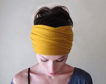 MARIGOLD YELLOW Boho Head Scarf, Mustard Yellow Bohemian Headband, Dark Yellow Boho Hair Wrap, Extra Wide Jersey Headband