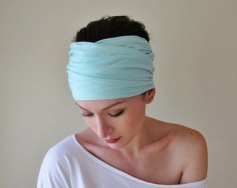 MINT BLUE Head Scarf - Extra Wide Yoga Headband - Womens Hair Accessories - EcoShag Hair Wrap - Lightweight Jersey Head Scarves
